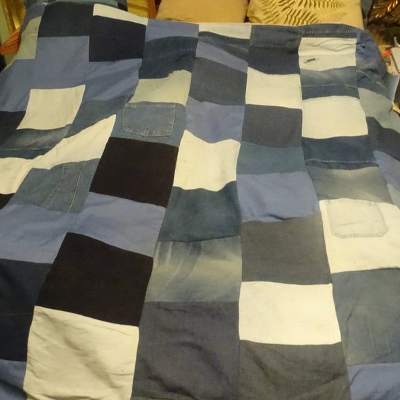 """Quilt made from recycled denim, size 68"""" x 72"""""""